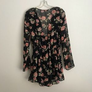 Foreign Exchange Dresses - Foreign Exchange Long Sleeve Floral Romper